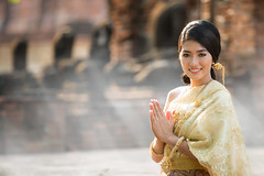 Thai Lady in vintage original Thai costume (anekphoto) Tags: hello morning girls portrait people woman beautiful beauty smile yellow fog lady female asian thailand temple person gold costume asia dress adult dancing withe bangkok background traditional religion young culture posing happiness dancer east indoors mai human thai welcome cheerful wat chiang isolated teenage ethnicity sukhothai ayutthaya indochina sawasdee