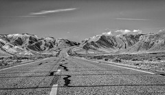 On The Road Again (MarcCooper_1950) Tags: road park sky blackandwhite bw mountains blancoynegro monochrome clouds landscape utah nikon highway empty hill national lone bryce asphalt bianco nero whiteline lightroom d810 marccooper