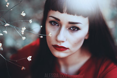 Red II (Alessia.Izzo) Tags: red portrait cold nature girl beauty face canon dark hair fairy lipstick
