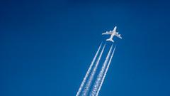 White & Blue (Darryl Hughes) Tags: blue sky white classic plane lens sony trail 500mm f8 vapour exakta a6000