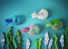 Nautilus Brooches (hine) Tags: pin handmade brooch craft felt knitted nautilus ranbu   helloartmachi2016