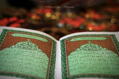 A Click of the Qur'an (|| Rehnumah Insan ||) Tags: light red color green dark 50mm peace dof natural bokeh islam faith religion indoor depthoffield holy quran 50mm18 canon600d