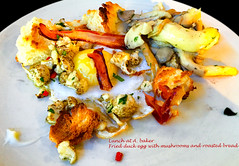 Fried duck egg with charred cauliflower and mushrooms (garydlum) Tags: au australia cauliflower eggs canberra australiancapitalterritory
