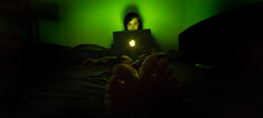 The Green Room - Apple Aura (p.g604) Tags: light green feet toes glow shadows laptop room radiance perspective blurred chillin wires walls chillaxin the engrossed applegate