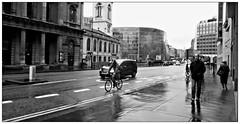 (charleyk) Tags: blackandwhite wet monochrome rain traffic dreary damp drizzle commutors