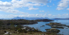 Isle of Skye Mountain Panorama, from Plockton, West Coast of Scotland, April 2016, Explored (allanmaciver) Tags: red sky mountains cold skye water clouds scenery afternoon wind moor bog viewpoint plockton blck cuillin moutaineer allanmaciver