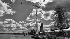 river Thames exploration by water and air (lunaryuna (off to Iceland for 2 weeks)) Tags: light england sky bw panorama london monochrome weather clouds season blackwhite spring lunaryuna riverthames cloudscape urbanskies urbanconstructs lightmood seasonalwonders riverpeer emiratesthamescablecar