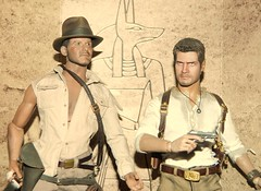 Indy and Nate meet up in Egypt. (Pooh's World) Tags: egypt indianajones sideshow uncharted templeofdoom nathandrake