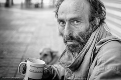 The forgotten (1) (Luis Alvarez Marra) Tags: street camera city portrait bw white black monochrome souls 35mm lens prime spain nikon flickr faces outdoor candid homeless going snap catalonia luis moment unposed alvarez tarragona collecting decisive marra d7000 streettog