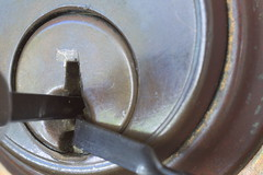 Picked (lenswrangler) Tags: circle lock round thief cylinder locks pick keyhole unlock brass burglary locksmith lockpick hpc burglar breakingandentering digikam flickrfriday tensiontool rawtherapee burglarytools lenswrangler