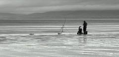 Alone he stands (eddieELM) Tags: longexposure ireland blackandwhite bw monochrome canon mono fishing 70200 donegal rossnowlagh 600d seafishing rebelt3i kissx5 leelittlestopper