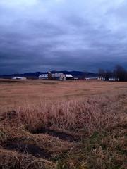 farmstead at dusk (placeinsun) Tags: sky mountains clouds landscape vermont dusk farm barns middlebury pasture fields
