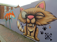 Sabre-toothed...cat? (pefkosmad) Tags: city urban streetart art public wall cat graffiti feline gloucestershire fox gloucester aerosol spraycan greyfriars sabretoothedcat annatomix