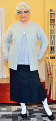 Ingrid021395 (ibach411) Tags: glasses skirt blouse mature button brille cardigan waistcoat bluse pleated strickjacke weste faltenrock durchgeknpft