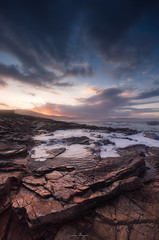 sunset in the rocks (bruzos photography) Tags: longexposure sunset sea sky sun sol beach water clouds landscape atardecer waves colours playa colores galicia cielo nubes rocas ribadeo barreiros ril seascpae largaexosicion photopills bruzos