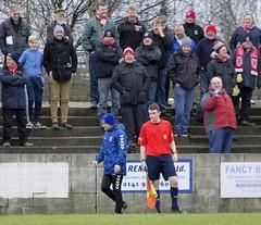 Maybole gaffer Carlo Walker runs the Bankies banter gauntlet as he heads for an early bath (Stevie Doogan) Tags: park west scotland scottish first super juniors division league holm clydebank bole maybole bankies mcbookiecom