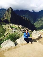 Tania meditating at Machu Picchu, Peru