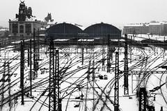 Creepy station (De.Ha) Tags: voyage bw white snow black station noir czech prague gare trains praha neige et extrieur blanc ville republique tcheque
