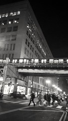 1 Feb. evening rush (williamw60640) Tags: blackandwhite chicago car traffic pedestrians rushhour theloop crosswalk statest elevatedtrain urbanlife cityscenes urbanscene vanburenst eveningrush elevatedtraintrack