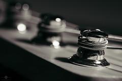 Coiled String (Bass Guitar #2) (chmeermann | www.chm-photography.com) Tags: bw monochrome germany de blackwhite nikon sigma sw makro gelsenkirchen nordrheinwestfalen gitarre lightroom 105mmf28 schwarzweis querformat landscapeformat bassgitarre d7100 agfaportraitxps160 vscofilm