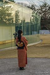 Kanazawa - Afternoon light (NettyA) Tags: travel winter people woman reflection glass japan museum asia kimono kanazawa traditionaldress ishikawa contemporaryartmuseum 2015 21stcenturymuseumofcontemporaryart