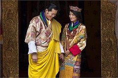Punakha :A file photo Queen Jetsun Pema with King Jigme Khesar Namgyal Wangchuck as they pose after their marriage. A new crown prince their baby was born on Friday (legend_news) Tags: new baby pose was born photo king with marriage prince file queen after crown they their friday pema punakha jigme namgyal a khesar wangchuck jetsun
