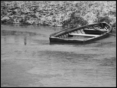 That Sinking Feeling (tact1) Tags: blackandwhite ice water canon river boat frozen sweden