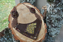 But Starks remain_2 (~Gilven~) Tags: winter brown man metal gold necklace beads wolf embroidery jewelry medieval armor bead stark beading gem chainmail garnet goldthread starks beadembroidery gameofthrones czechbeads foggyforest naturalleather jewelryfindingsbyannachernykh