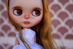 New girl (zsofianyu) Tags: summer brown white eye art shop for eyes doll dress wind handmade ooak country chips clothes customized blythe neo freckles etsy custom takara seller tomy fa adoption realistic customization eyechips puppelina