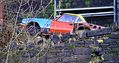'Crashed' Spitfire (car) (wontolla1 (Septuagenarian)) Tags: bridge abandoned project walking four lumix canal colours hiking many parts rusty micro triumph spitfire wreck g3 scrap hebden rochdale todmorden thirds benetton spares beneton littleborough m43 lumixgvario45200mmf4056megaoislens