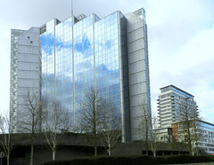REFLECTIVE SURFACE (conespider) Tags: uk trees england sky building glass clouds outside nikon outdoor hampshire highrise gb basingstoke reflaction 2016