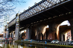 Manchester March 2016 (4 of 9) (johnlinford) Tags: city uk bridge england urban architecture manchester canal rail infrastructure girder canonefs1022