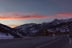 Andorra at Dusk (-dangler) Tags: road travel winter snow mountains cold clouds outside outdoors europe sundown dusk scenic wideangle roadtrip curve andorra dandangler