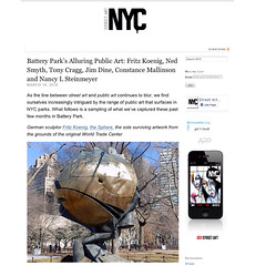 Fritz Koenig in Battery Park (LoisInWonderland) Tags: nyc sculpture manhattan batterypark publicart lowermanhattan fritzkoenig nycpark