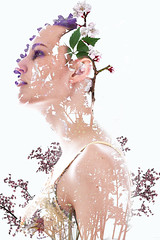 Spring (Alyssa Mort) Tags: flowers portrait woman plants selfportrait girl backlight self spring women doubleexposure indoor alyssamort