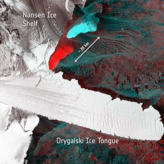 Birth of two icebergs (europeanspaceagency) Tags: antarctica iceberg satellites esa sentinel iceshelf nansen earthobservation