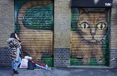 """Remember to feed the cat"" (Westhamwolf) Tags: street london art cat graffiti phone east shutter talking"