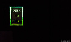 Push to Reject (MichaelaSMillion) Tags: game macro green word words video glow close small games videogames button push glowing rejection reject