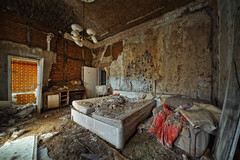 room 125 ([AndreasS]) Tags: trip travel orange abandoned beautiful hotel tv bed mess honeymoon tour serious decay interior room ruin dirty dirt tiles collapse suite heavy overlook derelict minibar dereliction 125 urbex