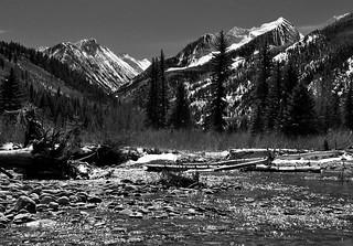 spring mountainscape - B&W