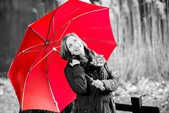 Red umbrella (Blickwinkel Fotoart - Jochen Hayna) Tags: red portrait bw colour rot girl beautiful umbrella spring nikon tamron selective d800 schirm
