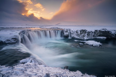 Goðafoss Waterfall (shaunyoung365) Tags: winter sunset mountain snow mountains clouds waterfall iceland sony godafoss