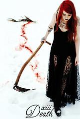 death (ScandanavianDinnerParty) Tags: winter snow tattoo dark photography death blood gothic lingerie card tarot macabre scythe