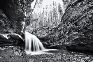 Unnamed falls (Stella Falls)  Johnson Canyon monochrome