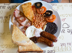 Mega Breakfast (The Rustic Frog) Tags: camera two brown black english mushroom up breakfast canon table mushrooms pepper fry bacon beans sauce toast tomatoes egg salt sausage pudding full butter browns sausages cloth hash fryup baked mega g15