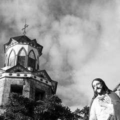 The belfry of century old St. Michael church in Basey, Western Samar - the Philippines (40emem) Tags: old sky bw white black tower heritage tourism church miguel clouds canon xt ancient san flickr philippines jesus belfry bnw samar basey
