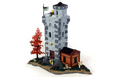 Benoic Watchtower (soccersnyderi) Tags: wood tree green castle stone dark landscape model lego flag border cottage boulder medieval tudor goh base battlement irregular moc halftimber crenelation bley avalonian