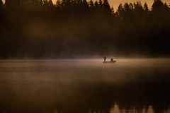 Gold Fishing (jeanmarie shelton) Tags: morning trees light orange mist lake men nature water fog dark landscape boat fishing fisherman nikon waterscape jeanmarie cottagelake jeanmarieshelton