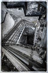 The Downward Spiral. (Tris1972 (tmorphewimages.co.uk)) Tags: broken spiral stair down stairwell stairway derelict deserted downward ruined urbex