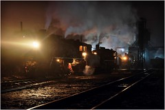 Three in a Row (Welsh Gold) Tags: china night republic shift steam peoples depot northwestern province locomotives preparations sy liaoning fuxin